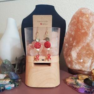 Handmade white crackle agate awareness earrings